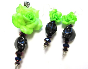 Day of the Dead Earrings And Necklace Pendant Sugar Skull Jewelry Rose Green Black Purple