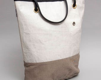 J24 recycled sail tote bag with the original reefing