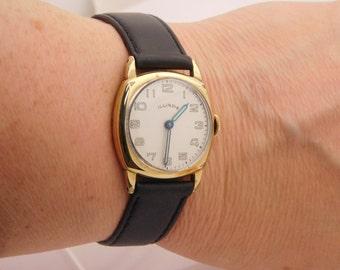 Men Illinois Wrist Watch 8.5 Inch Mechanical Yellow Gold Plated