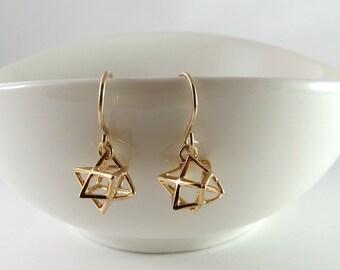 tiny star earrings, Merkaba earrings, gold 3D star, Jewish star, Star of David, Kabbalah, Judaica,3D Magen david earrings
