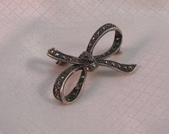 c1980's Victorian Reproduction Sterling Bow Brooch