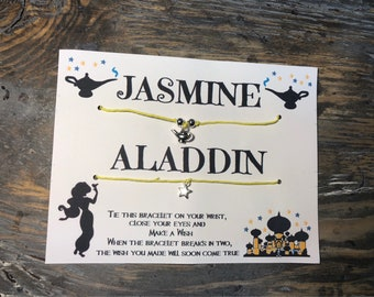 Jasmine & Aladdin Wish bracelet.Couples wish bracelet.His and hers wish bracelet.Disney wish bracelet.Princess Jasmine bracelet