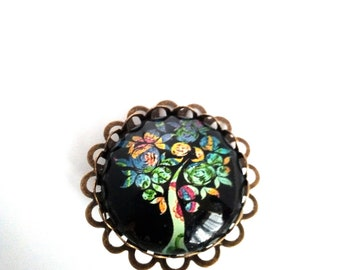 Brooch pattern tree of life glass cabochon