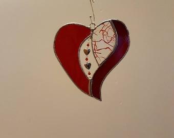 Stained Glass Beaded Heart Suncatcher