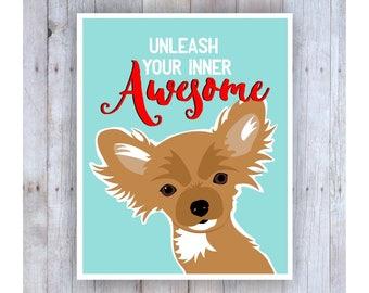 Chihuahua Art, Chihuahua Print, Girls Room Decor, Dog Art, Dog Decor, Bedroom Wall Art, Chihuahua Picture, Small Dog, Dog Poster