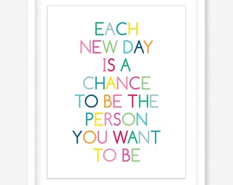 Printable poster - be the person you want to be - quote download wall art - inspiring quote poster - motivational saying - DIGITAL POSTER