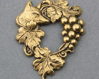 Vintage Brass Fox and Grape Vine Pendant Charm 50x40mm 1piece for Necklace and Crafts 10506001