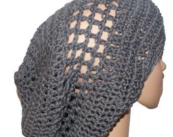 Womans Crochet Hat, Cotton Ladies Hat, Black Hat, Summer Cloche Hat, Cotton Summer Hat, Cotton Slouch Hat, Crochet Cotton Hat, Black Tam