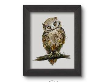 Owl Art Print, Wildlife Art, Home Decor