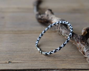 Black and white kumihimo bracelet Japanese friendship bracelet Braided cord bracelet Kumihimo cord bracelet Men's braided cord bracelet
