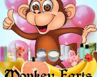 Monkey Farts - Scented Body Products & Candles - Shower Gel Body Spray Body Lotion Body Powder, Perfume Oil Scented Soap, Kid Friendly Scent