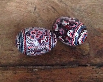 Pair of decorative wooden eggs