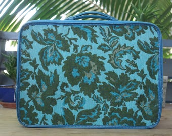 Vintage 1970s Tapestry Overnight Small Suitcase - Vintage Avon