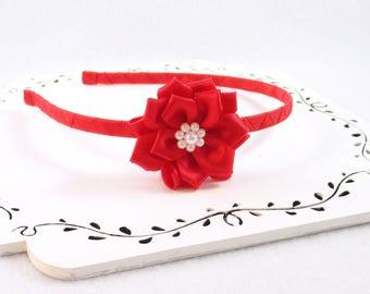 Red Satin Flower Headband, Girls Hard Headband, Red Satin Flower, Girls Flower Headband, Handmade Flower, Pearl Flower Headband