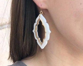 Taking Shape Earrings, White