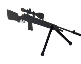 Steel Sniper Rifle Desk Art