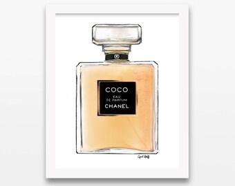 Chanel Perfume Print   Fashion Illustration, Art Drawing, Coco Chanel, Wall Art, Print Photo, Custom Art Painting