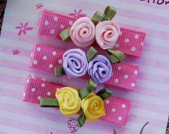 Set of 3 hair clips - Hot Pink with white polka dots and satin roses  -  For girls of any age.