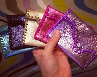 Metallic Leather Wallet w/ Fuzzy Yarn Whip Stitch - Leather and/or Suede w/ Lined Snap Closure - Free Shipping