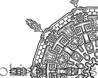 Aztec, Coloring Page, Instant Download, JPEG and PDF, Print to Frame, Home Decor, Art Therapy, Relaxation, Colouring Adults, Gift for her