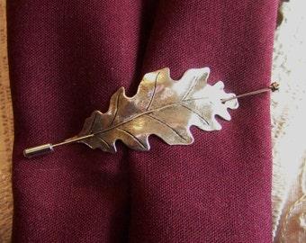 Shawl Pin, Scarf Pin, Oak Leaf Pin, Sweater Pin, Silver Oak Leaf Shawl Pin, Leaf Pin, Stick Pin, Silver Oak Leaf