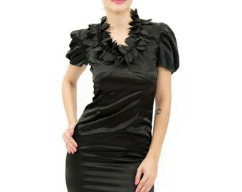 yantar by Yantar winter      black dress 207  Shower Dress, Bridesmaid Dress, Short Prom Dress, One Shoulder Satin Dress, Black Lace