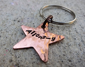 Doctor Who Quote - Allons-y Star - Hand Stamped Key Chain