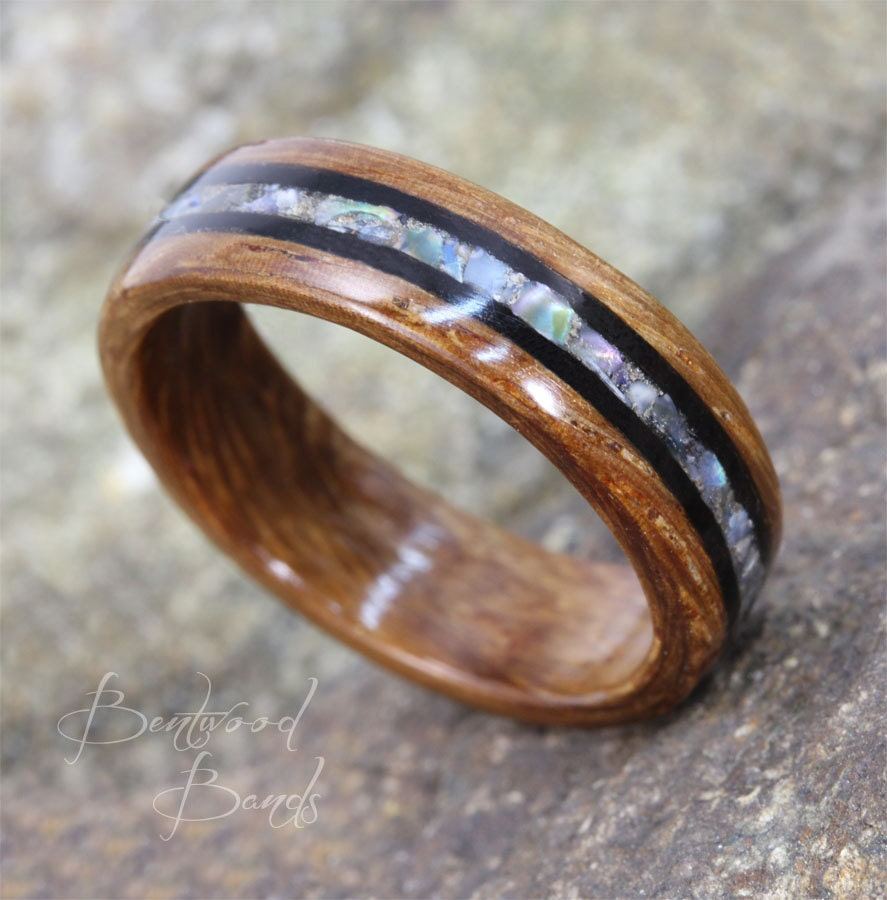 wood titanium t comfort contemporary ring teak rounded product jewellery with inlay rings and