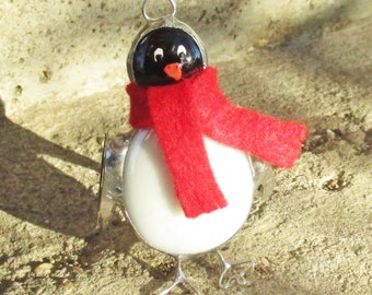 Penguin with Red Scarf Stained Glass Ornament for Winter or Christmas Holidays