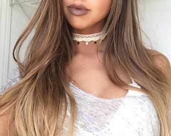 Cream Crochet Dangled Choker Necklace