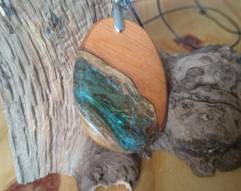 english yew wood and blue resin infused pendant/necklace