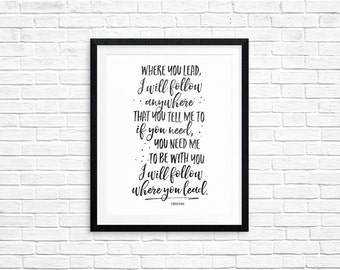 Printable Art, Where You Lead I Will Follow, Gilmore Girls Printable Art Quote, Art Prints, Digital Download Print, Quote Printables