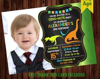 Dinosaur birthday invitation, Dinosaur invitation, Dinosaur theme boys birthday invitation, Dinosaur photo invitation, Dinosaur invite card