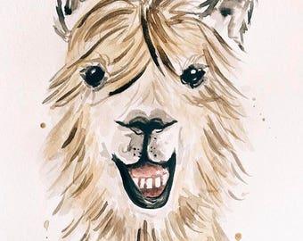Goofy Llama Watercolor Painting