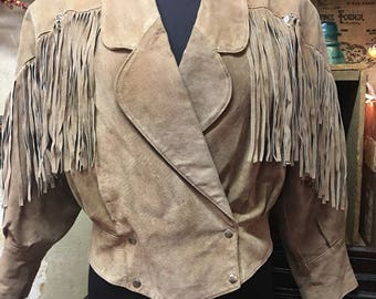 1980's Outerbound by HMS Double Breasted Suede Fringed Jacket
