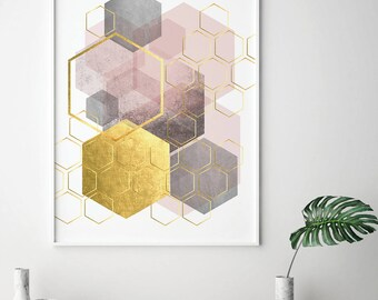 Printable Art, Downloadable, Pink Grey Gold, Geometric Art, Geometric,  Hexagonal,