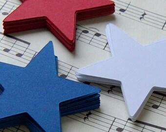 30 Die Cut Stars in Red, White & Blue, Star Tags, Star Die Cuts