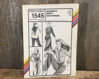 Vintage Stretch and Sew Ann Person pattern 1545 from 1980, ann person western shirt and dress pattern, retro sewing, western clothes pattern