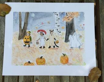 Art Print Trick or Treat Halloween