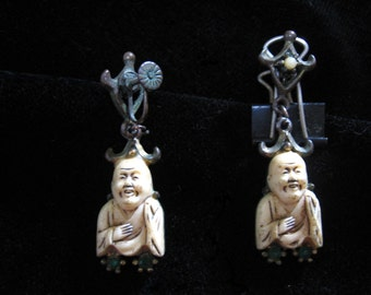 Mid Century Ivory and Brass Buddha Earrings