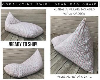 Bean Bag Chair   Dorm Room Furniture   Bean Bag Cover  Adult Bean Bag