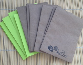 handmade envelope and note cards - bright green note cards with stamped craft envelopes set of 6