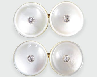 Vintage Mother of Pearl Cufflinks set with Diamonds in 14ct Gold CU9