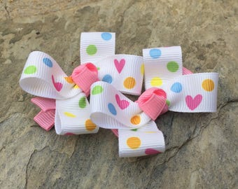 Heart Hair Bows,Mini Hair Bows,Pigtail Hair Bows,Alligator Clips,Non Slip