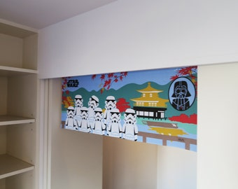 Star wars noren curtain, japanese tenugui handmade noren, stormtroopers wall decoration, wall tapestry japanese noren fabric,  door curtain