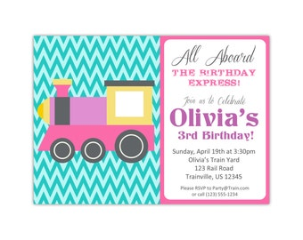 Train Invitation - Turquoise Green Chevron, Cute Pink Purple Little Engine Train Personalized Birthday Party Invite - Digital Printable File