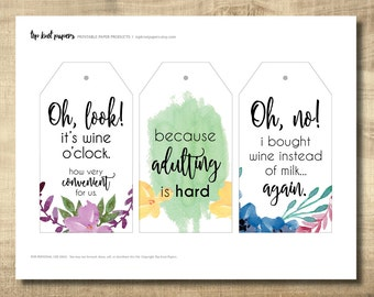 Printable Wine Tags, Printable Gift Tags -- Make Your Own Gift Tags at Home, Instant Download, DIY Gift Tags, Girls Night Wine Tags
