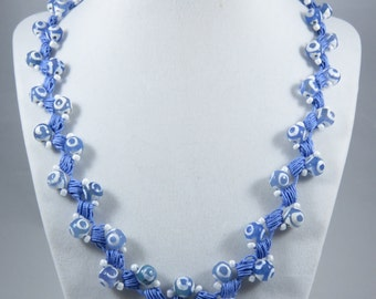 Light blue and white glass bead crochet necklace