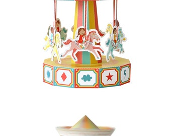Carousel Paper Toy - Movable Paper Toy - DIY Paper Craft Kit - 3D Model Paper Figure