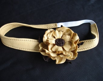 Leather Head Wrap with the Flower.